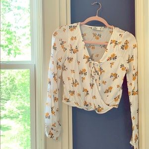 long sleeve white + yellow floral top